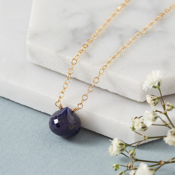 45th Wedding Anniversary | Sapphire Briolette Necklace