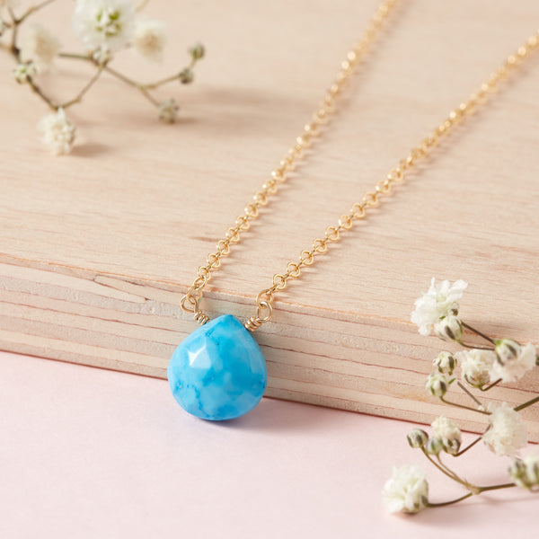 11th Wedding Anniversary | Turquoise Briolette Necklace