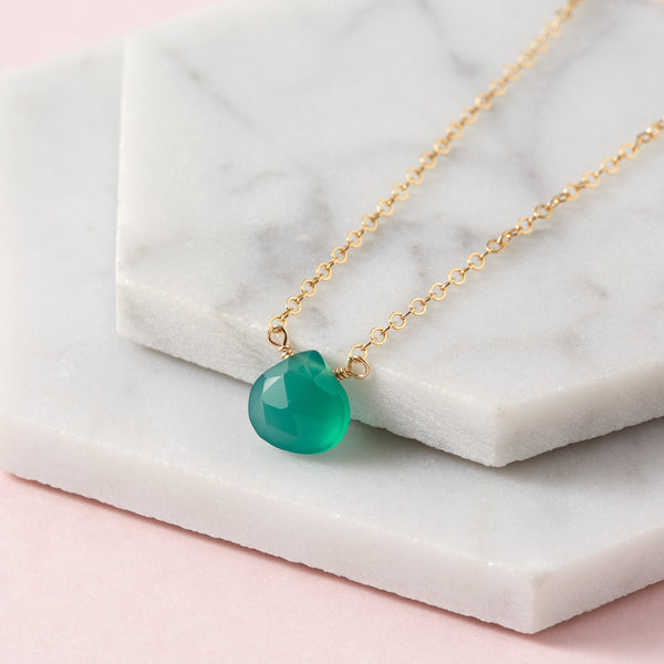 Green Onyx Briolette Necklace | Inspiration, Patience & Love