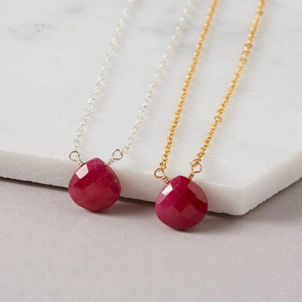15th Wedding Anniversary | Ruby Briolette Necklace