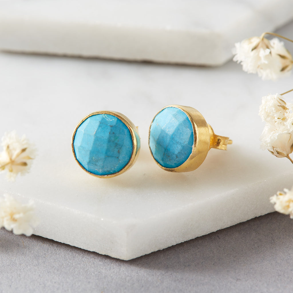 Natural Turquoise Ear Studs