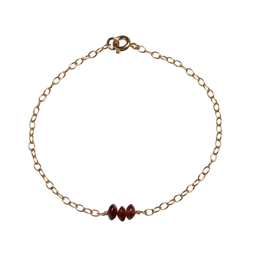 2nd Wedding Anniversary Bead Bar Bracelet | Garnet