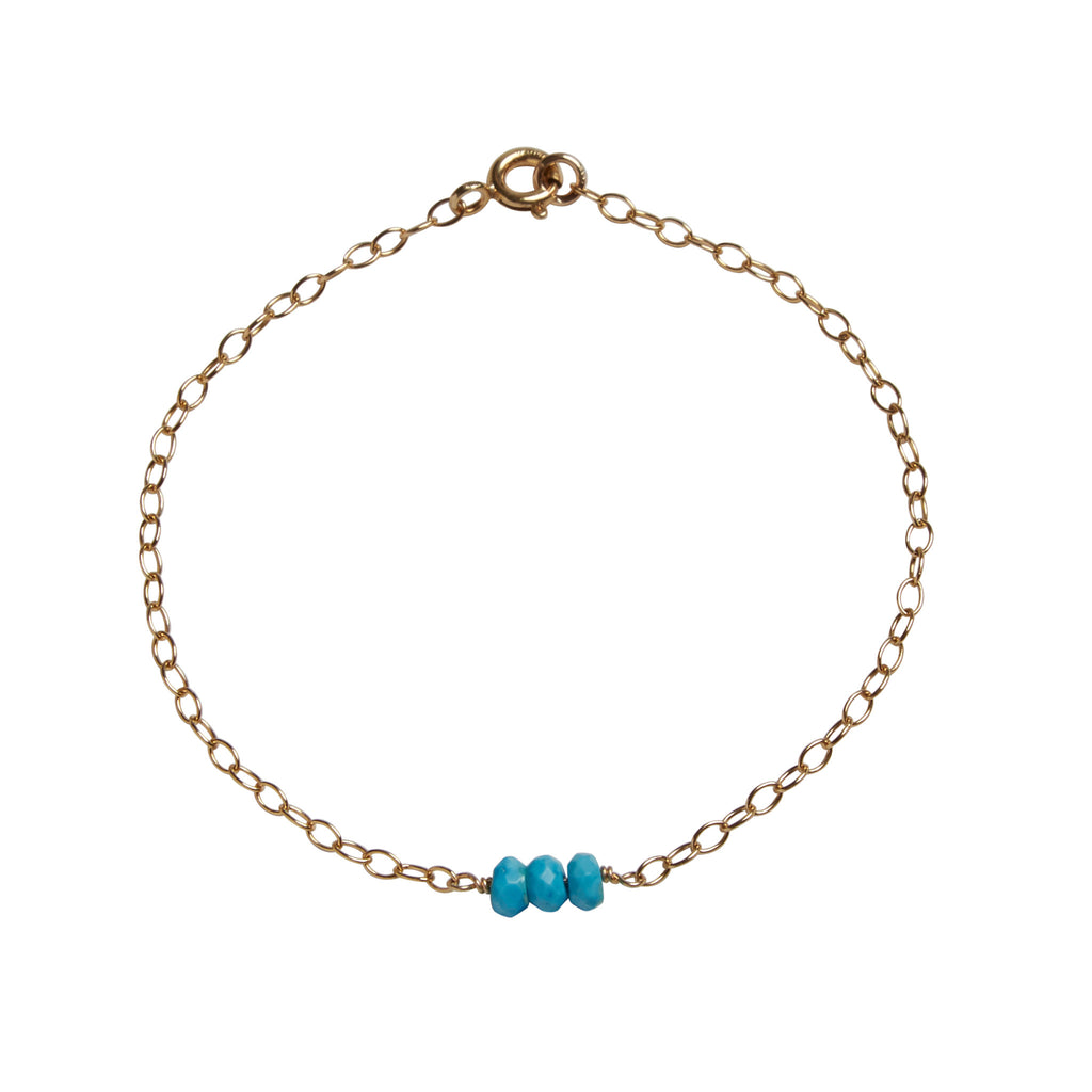 Turquoise Bead Bar Bracelet | Protection & Intuition