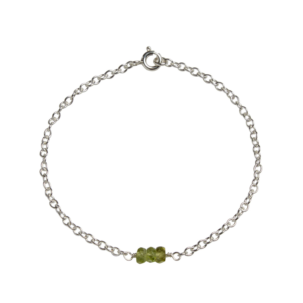 August | Peridot Bead Bar Bracelet