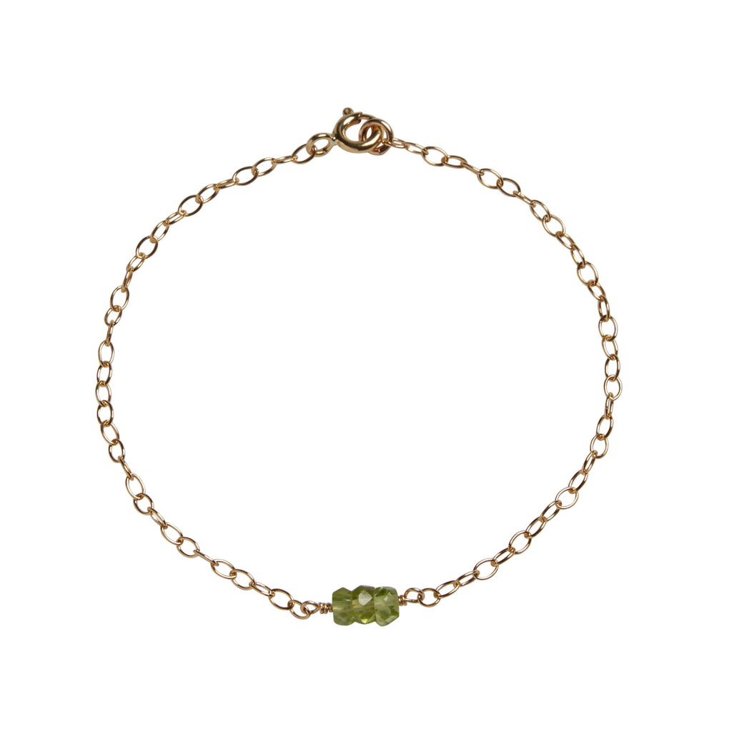 Peridot Bead Bar Bracelet | Wealth, Health & Protection