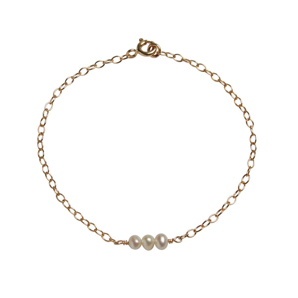 3rd Wedding Anniversary | Pearl Bead Bar Bracelet