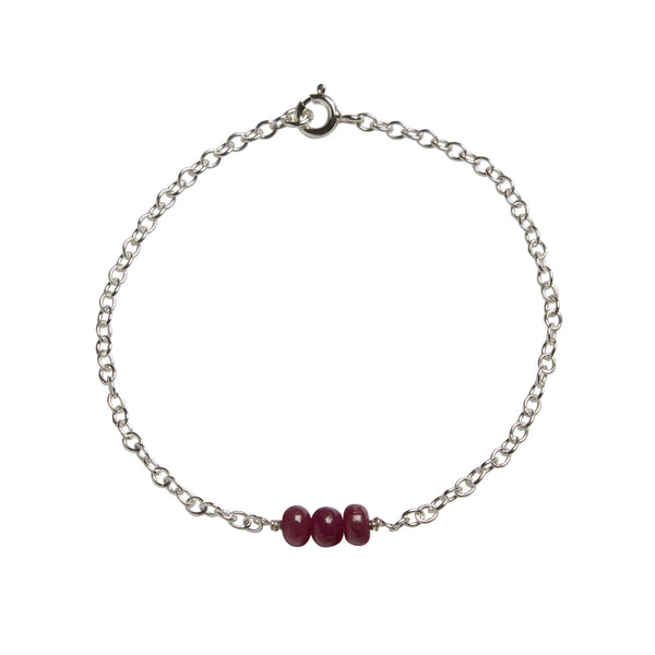 40th Wedding Anniversary | Ruby Bead Bar Bracelet