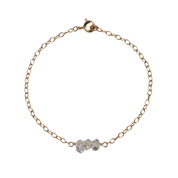 60th Wedding Anniversary | Herkimer 'Diamond' Bead Bar Bracelet