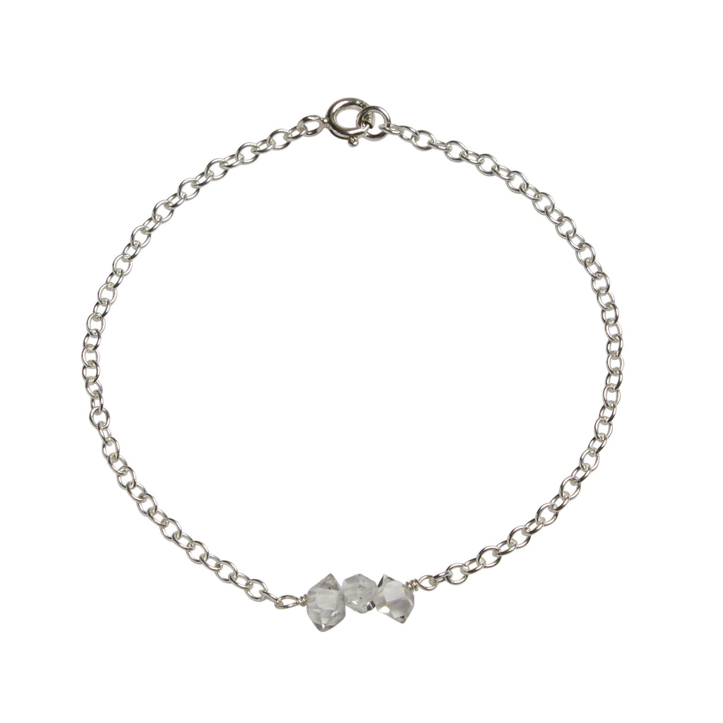 April | Herkimer 'Diamond' Bead Bar Bracelet