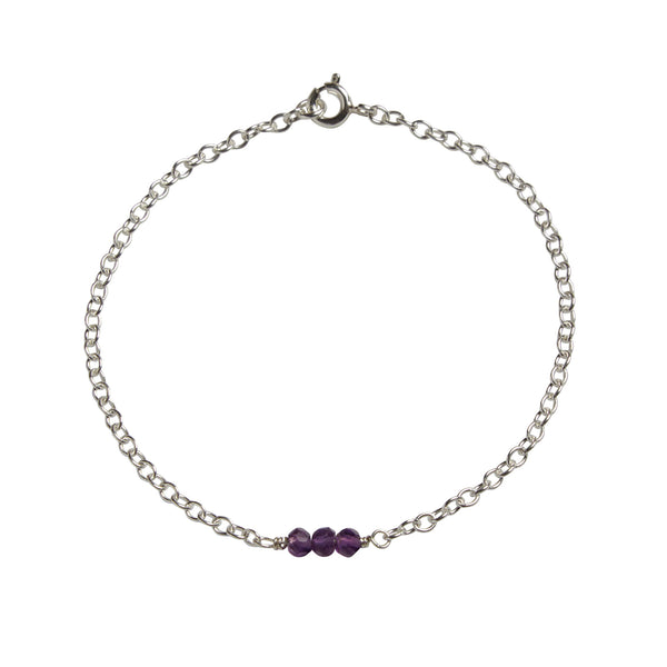 6th Wedding Anniversary | Amethyst Bead Bar Bracelet