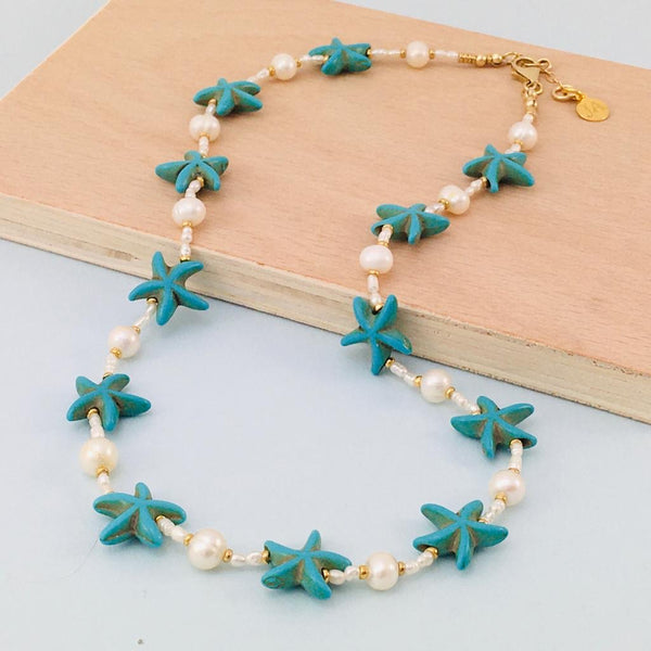 Howlite Starfish and Freshwater Pearl Necklace