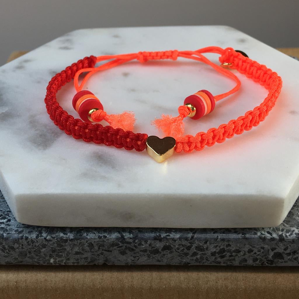 Gold Plated Heart Friendship Bracelet (Red/Orange)