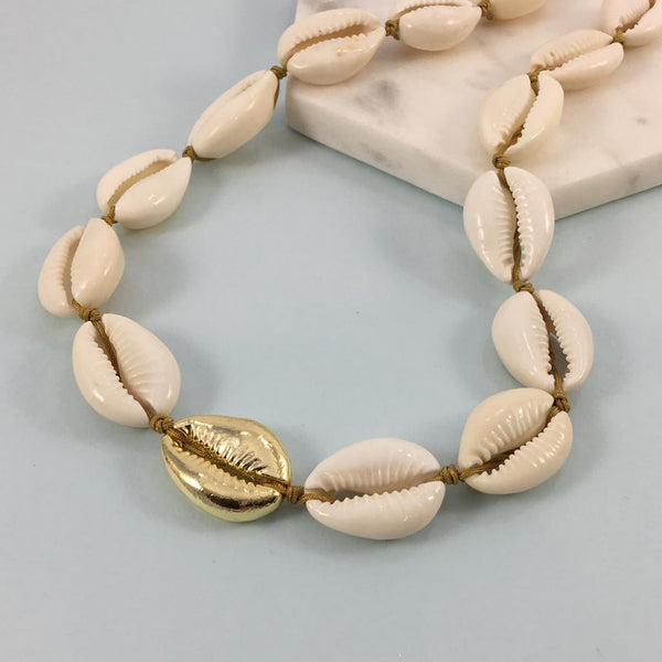 Gold Plated & Natural Cowrie Shell Necklace