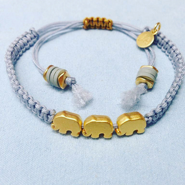 Matte Lucky Elephant Friendship Bracelet (Grey)