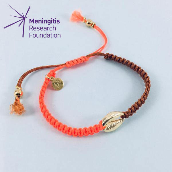 Cowrie Shell Friendship Bracelet (Neon Orange/Chocolate)