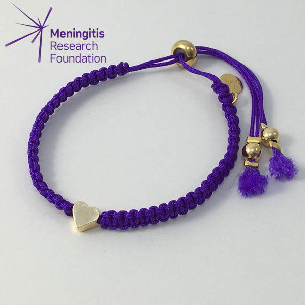 Gold Plated Heart Friendship Bracelet (Purple)