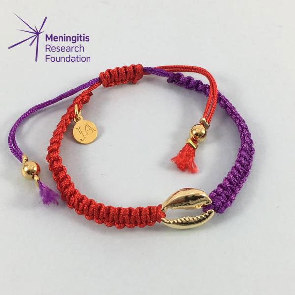 Cowrie Shell Friendship Bracelet (Red/Purple)