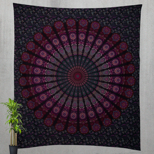 Pink and Purple Colored Mandala Bedding and Queen Tapestry - KraftDirect