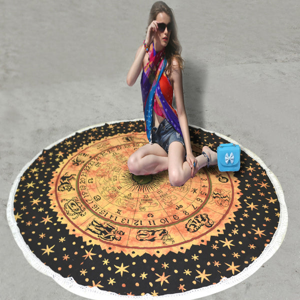 MANDALA BEACH THROW WITH ORANGE ZODIAC DESIGN - KraftDirect