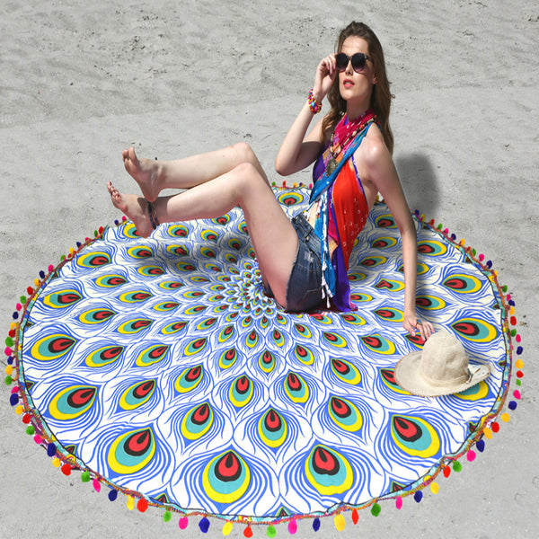 PEACOCK FEATHER BEACH THROW WITH MULTI-COLORED POM POM TASSELS - KraftDirect