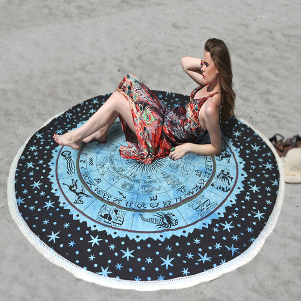 MANDALA BEACH THROW WITH BLUE AND BLACK ZODIAC DESIGN - KraftDirect