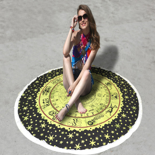 MANDALA BEACH THROW WITH GREEN AND BLACK ZODIAC DESIGN - KraftDirect