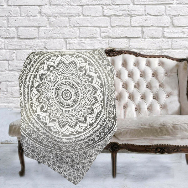 Boho Quilted Cotton Throws for Sofa - Grey Subtle Mandala