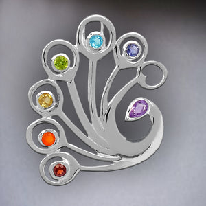 DANCING FEATHER STERLING SILVER STONE CHAKRA JEWELRY PENDANT