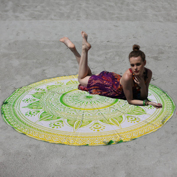 GREEN AND YELLOW HUES MANDALA ROUND BEACH THROW - KraftDirect