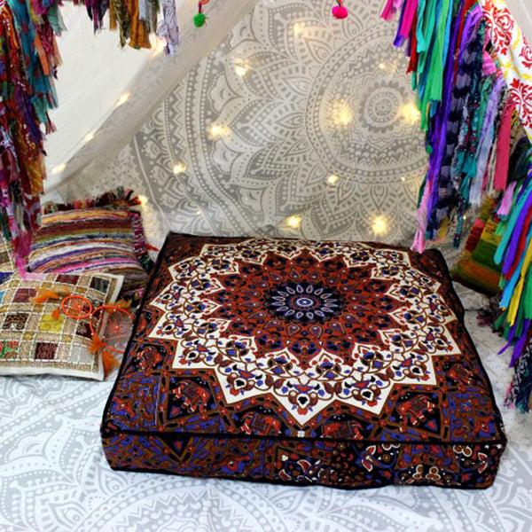 Brown Petal Mandala Square Floor Pillow