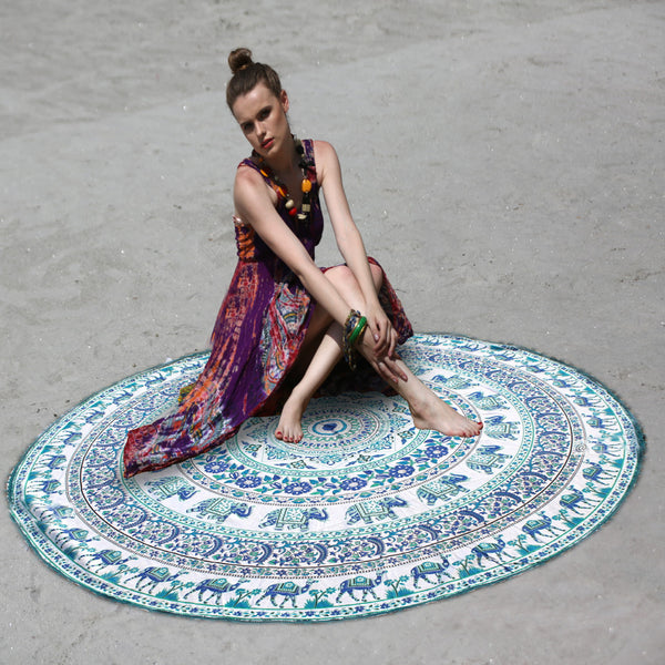 ELEPHANT AND CAMEL MOTIFS MANDALA ROUND BEACH THROW - KraftDirect
