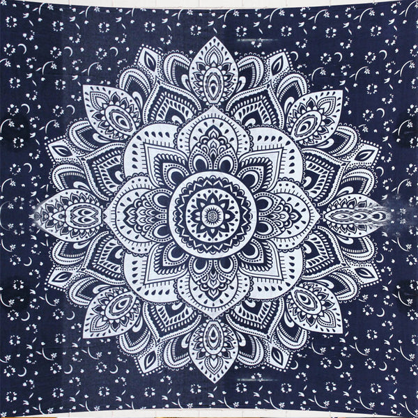 Blue Flower Queen Size Mandala Bedding and Wall Tapestry - KraftDirect