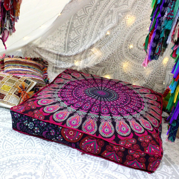 The Blissful Square Bohemian Floor Pillow Cover