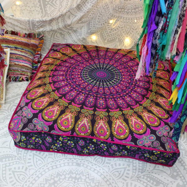 The Grape Garden Square Mandala Floor Pillow Cover