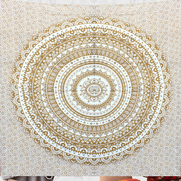 Golden Queen Size Mandala Bedding and Wall Tapestry - KraftDirect
