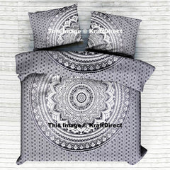 BLACK AND WHITE SERENE CHAKRA MANDALA DUVET COVER SET
