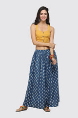 BLOOMING BUDS BLUE BOHEMIAN HAND-BLOCK PRINTED SKIRT