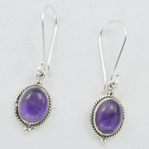 BASIC LOOK AMETHYST STERLING SILVER DROP EARRINGS