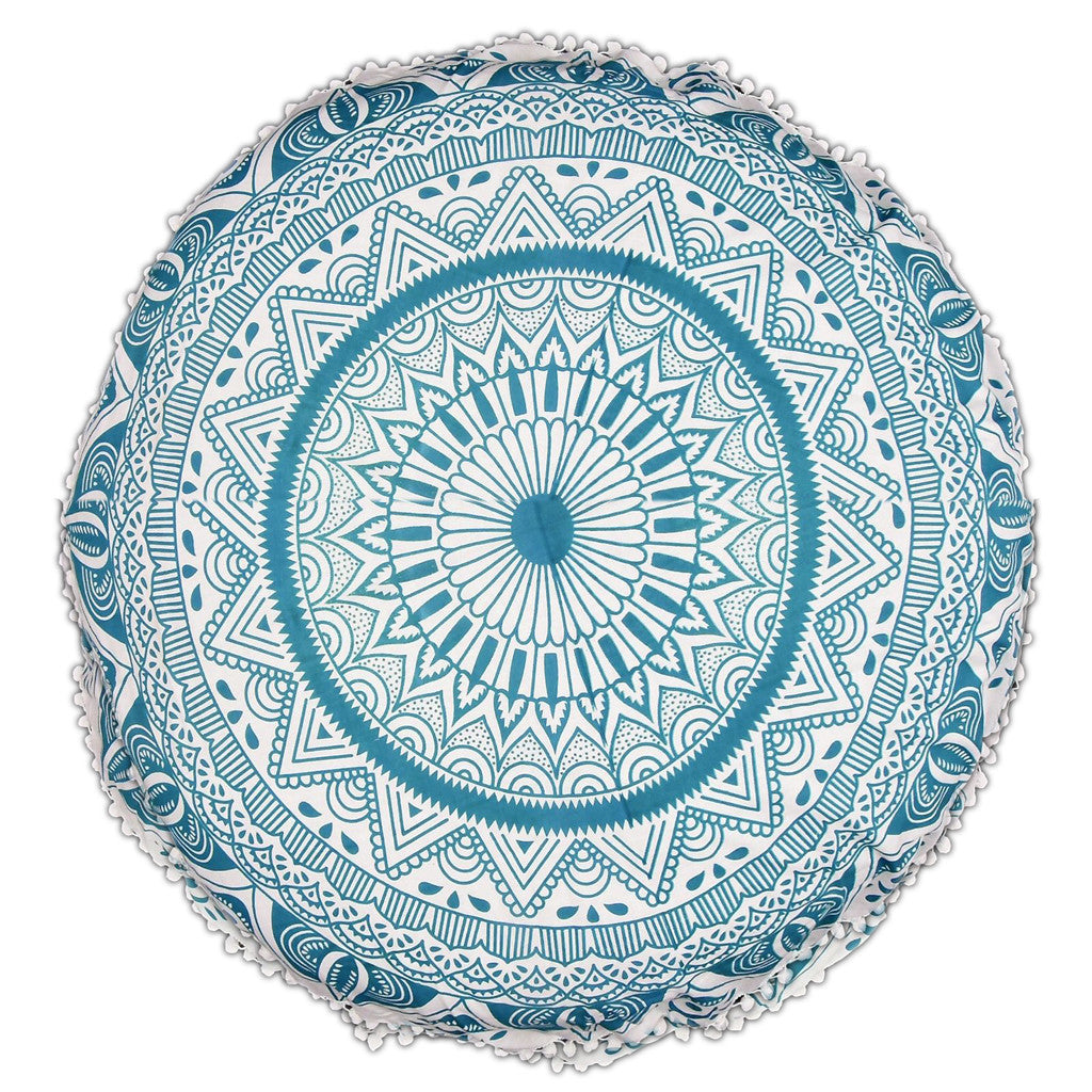 Oceanic Chakra Round Mandala Pillow Round Floor Pillow ? KraftDirect