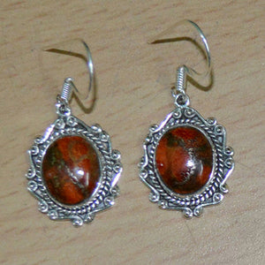 AESTHETIC FABLES ORANGE TURQUOISE STERLING SILVER MOONSTONE EARRINGS