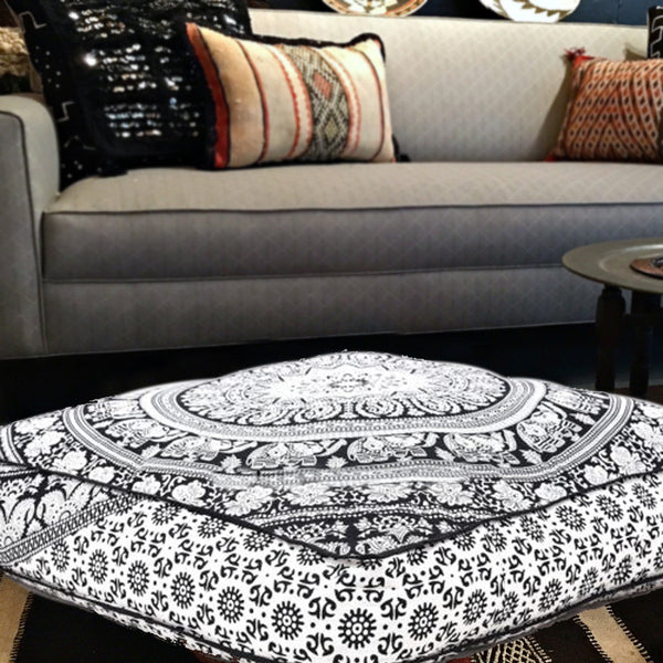 The Monochrome Touch With Elephant Motifs Square Mandala Floor Pillow
