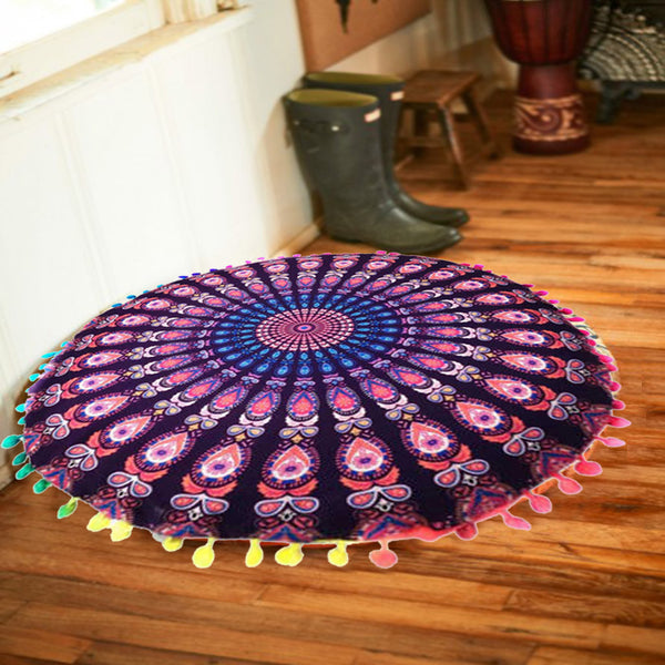 Purple Mandala Chakra Floor Pillows For Yoga and Meditation - 32 inches