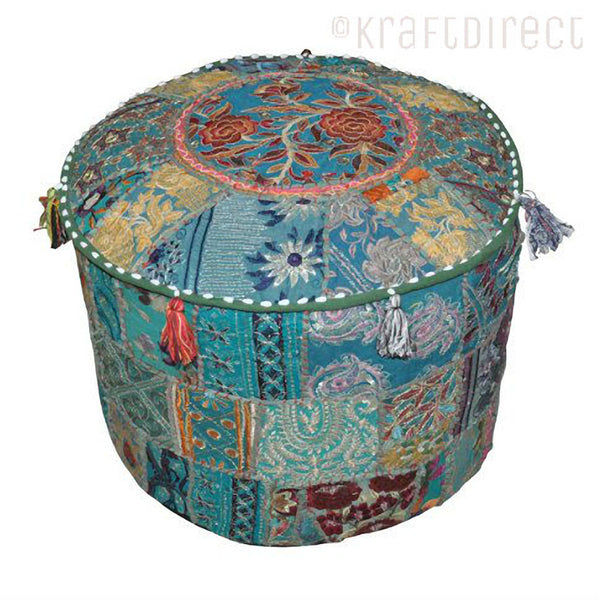 Boho Ottoman Patchwork Pouf - Blue Base - KraftDirect