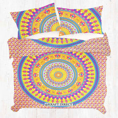 RED AND YELLOW MANDALA DUVET DOONA COVER SET
