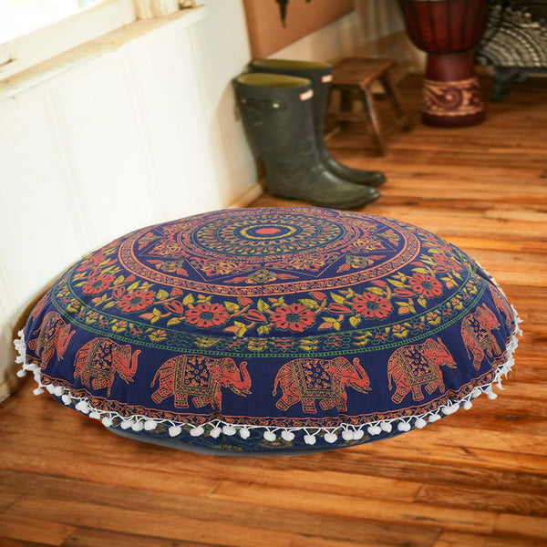 Elephant Round Mandala Floor Pillows For Yoga and Meditation - 32 inches