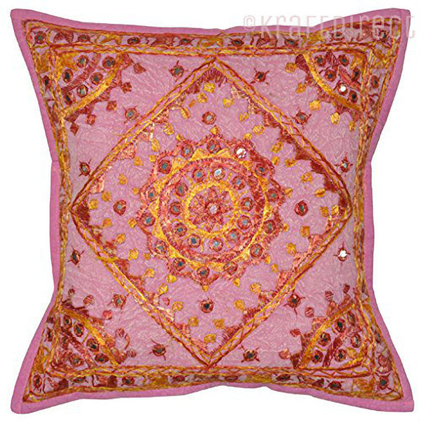 Kantha Boho Pillow Patchwork Pillow Case Embroidered pillow case 16x16 - KraftDirect