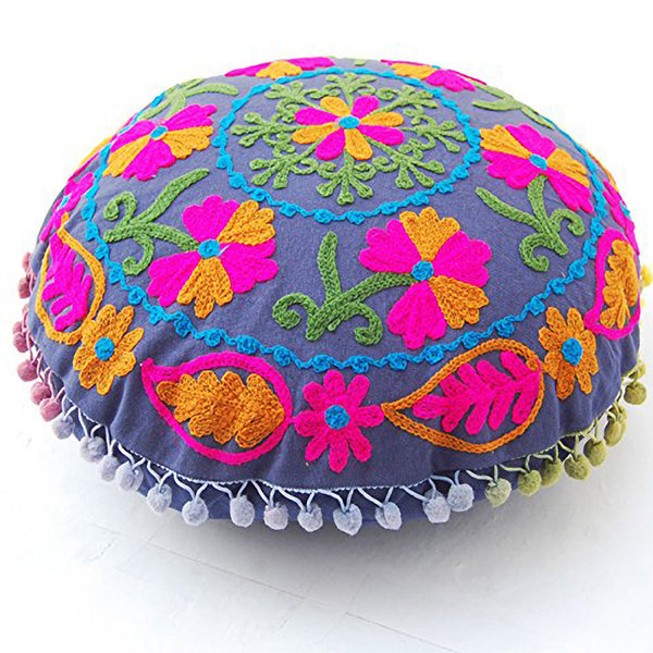 Purple Suzani Embroidered Pillow Cover with Pink, Green and Yellow Embroidery and Multi-Colored Pom Poms - KraftDirect