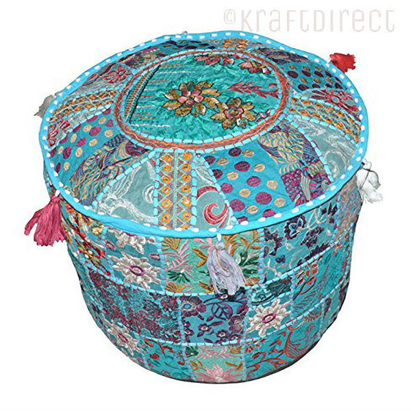 Boho Ottoman Patchwork Pouf - Sky Blue Base - KraftDirect