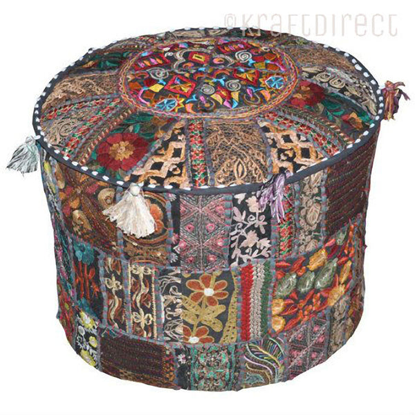 Boho Ottoman Patchwork Pouf - Brown Base - KraftDirect