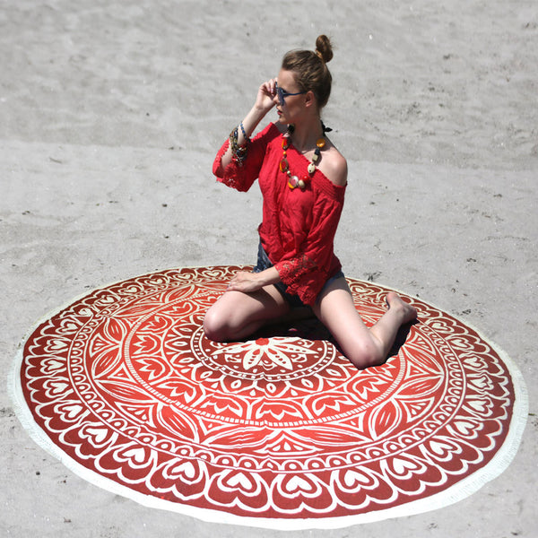 MANDALA HEART DESIGN BEACH THROW WITH WHITE TASSELS - KraftDirect
